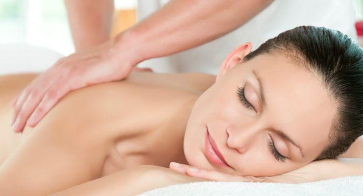 Woman enjoying massage therapy session